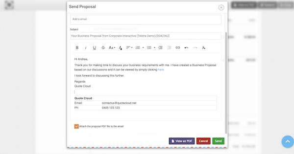 QuoteCloud sending proposal screenshot