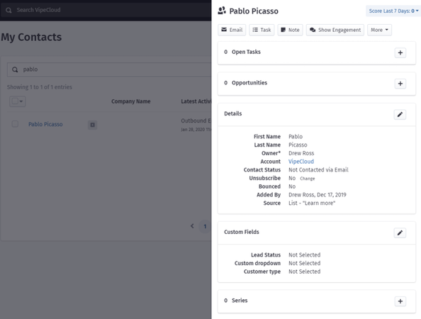VipeCloud Quick Contact View