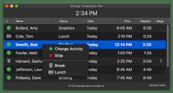 Virtual TimeClock team status tracking