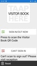 TAAP Visitor Book QR code scanning