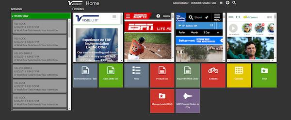 Visibility ERP home portal