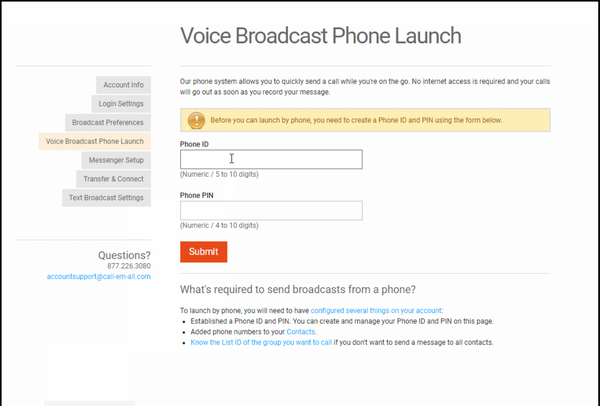 Call-em-all voice broadcast phone launch screenshot.