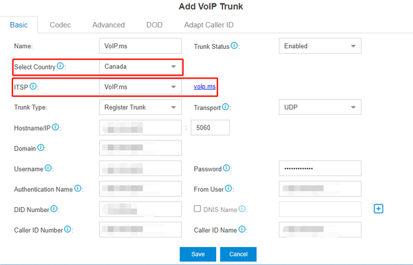 VoIP.ms adding VoIP trunk