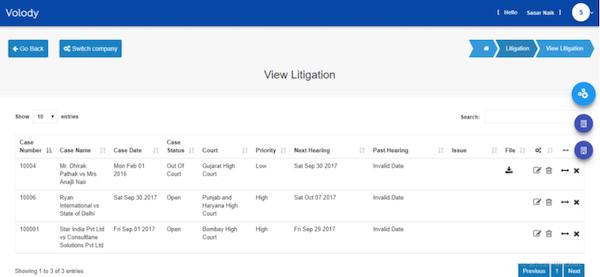 Volody Litigation Management view litigations