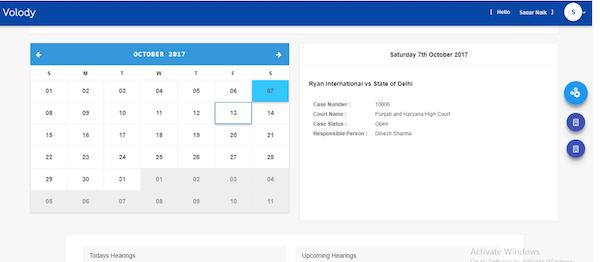 Volody Litigation Management calendar