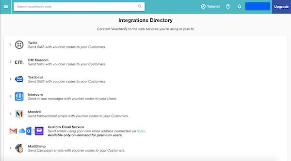 Voucherify integration directory screenshot