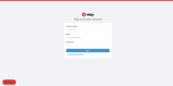 Vozy sign in page