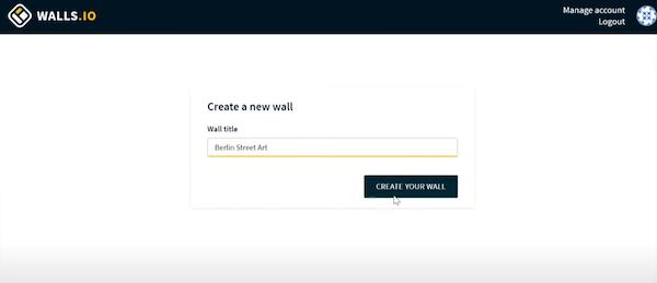 Walls.io create new wall