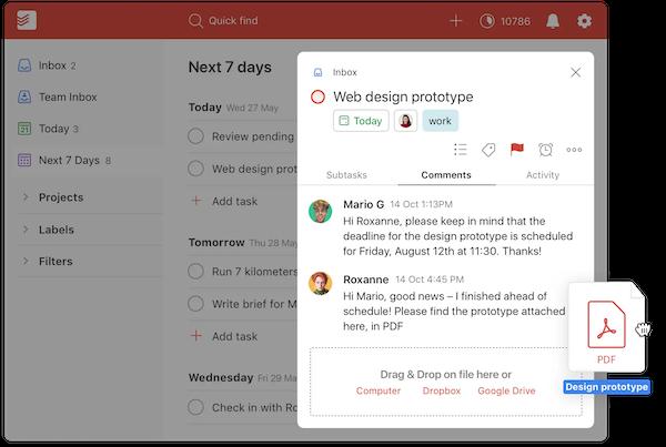 Todoist web design prototype