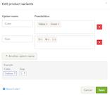 Webador add product variants