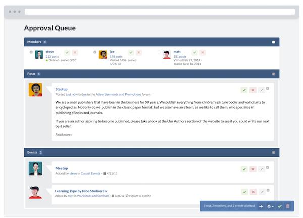 Website Toolbox approval queue