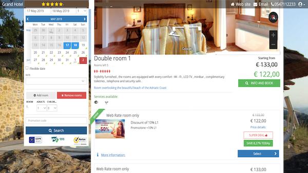 Welcome online booking screenshot