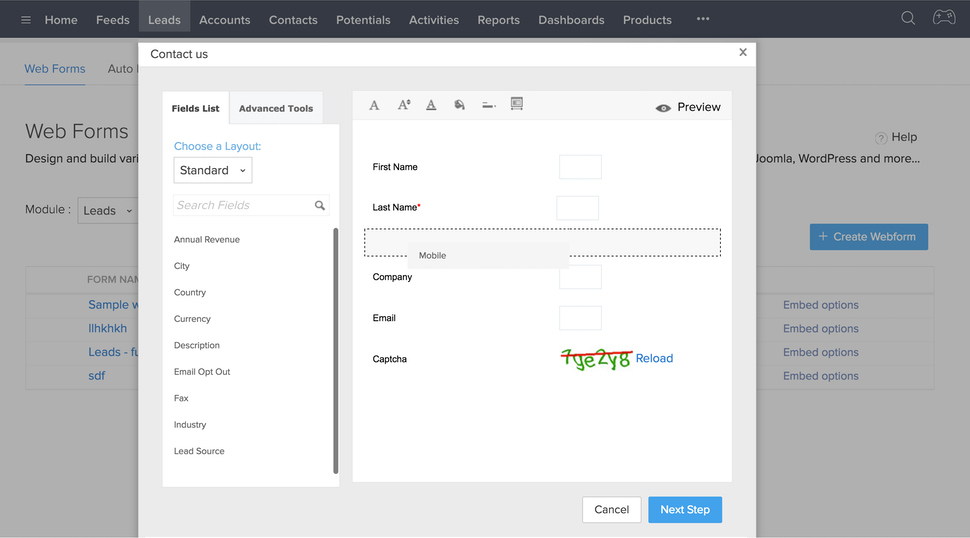 Web forms for lead generation