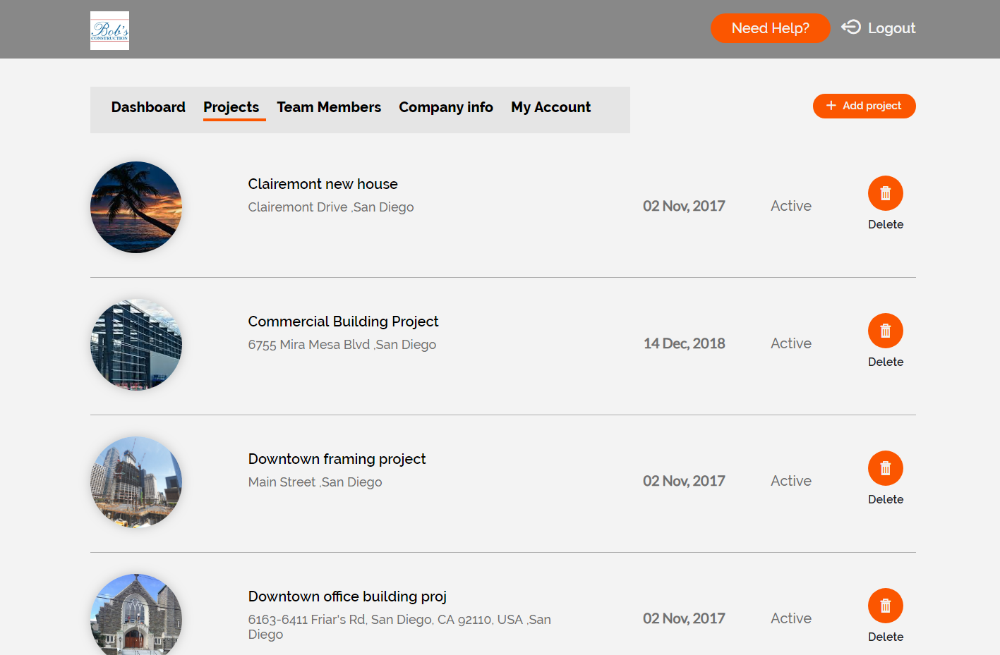 Desktop project list
