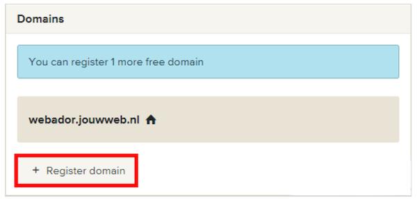 Webador register domain name