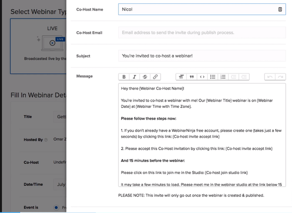 WebinarNinja invitation email