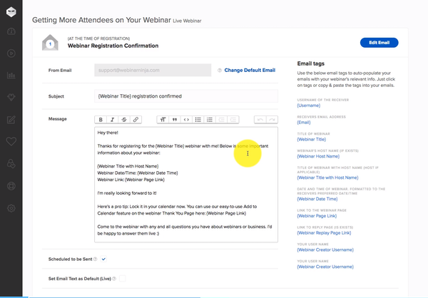 WebinarNinja registration confirmation email