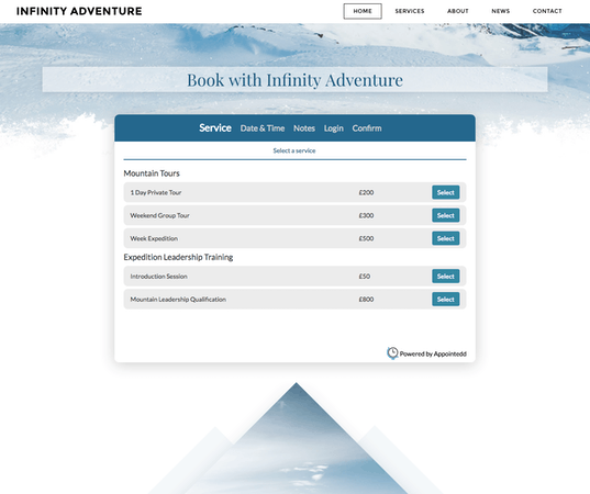 Appointedd website booking widget