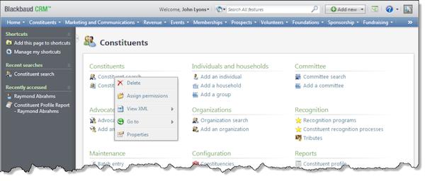 Blackbaud Fundraising web page designer menu screenshot