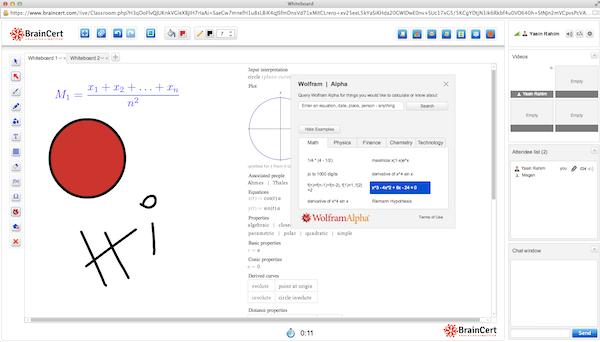 BrainCert E-Learning Platform whiteboard