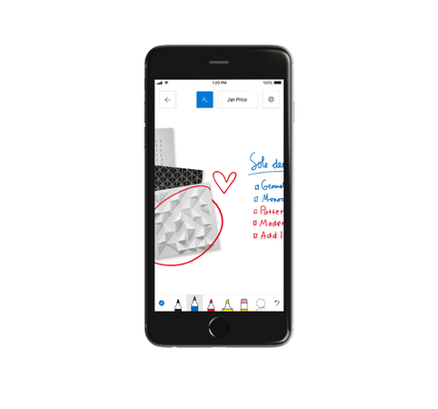 Microsoft Whiteboard mobile interface