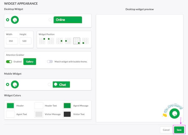tawk.to customizing widget appearance