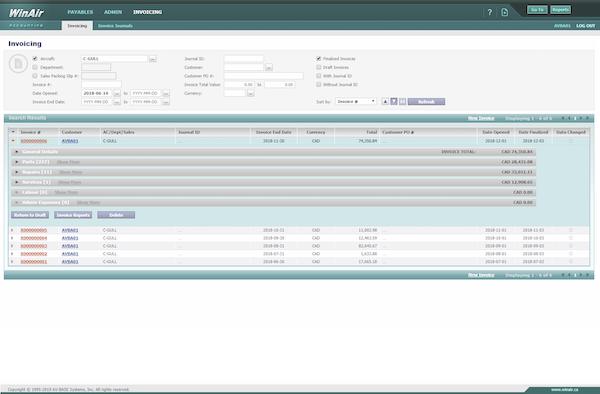 WinAir invoicing