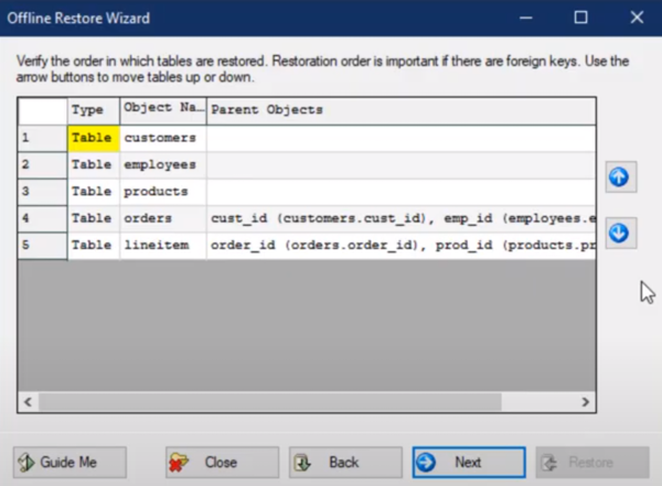 WinSQL offline restore wizard