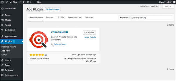 Zoho SalesIQ WordPress integration screenshot