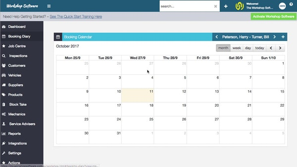 Workshop Software booking calendar