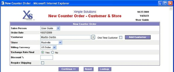 Ximple ERP new counter order