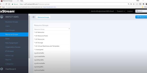 xStream Cloud Management resource groups