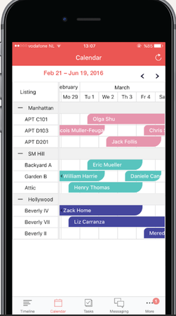 Your Porter App multi-calendar screenshot