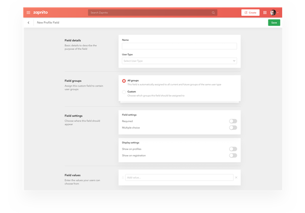 Zapnito custom registration field screenshot