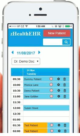 zHealthEHR patient schedule