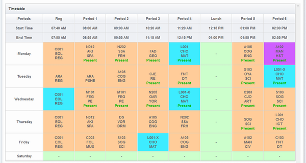 Zippro School Management System timetable