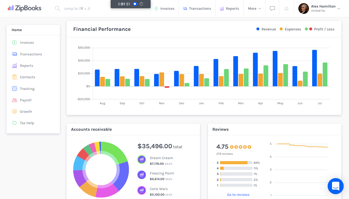 ZipBooks - ZipBooks Dashboard