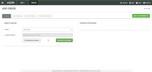 Znode order management - create order