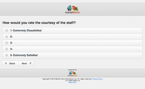 Marketforce survey screenshot