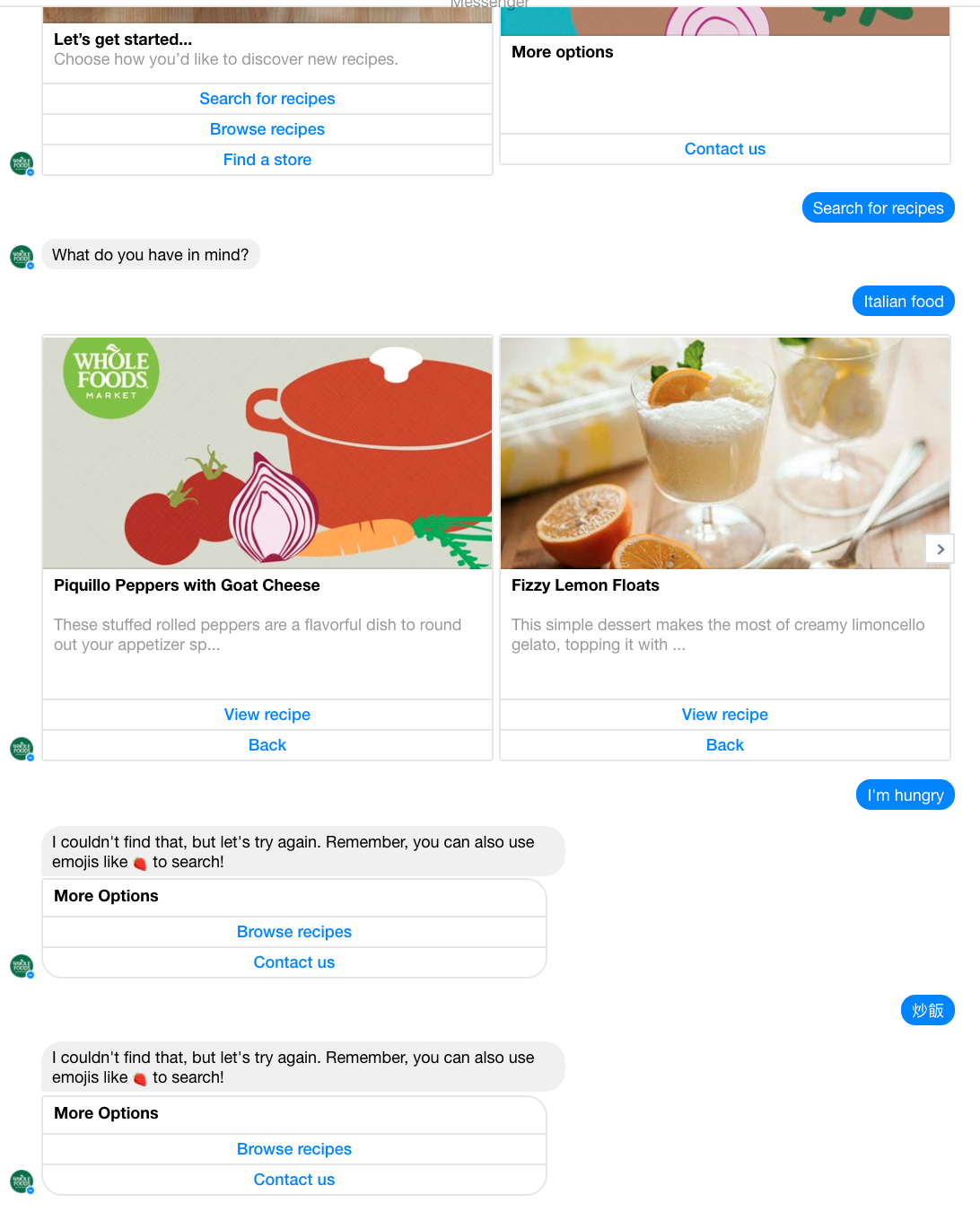 Whole Foods Recipe Bot