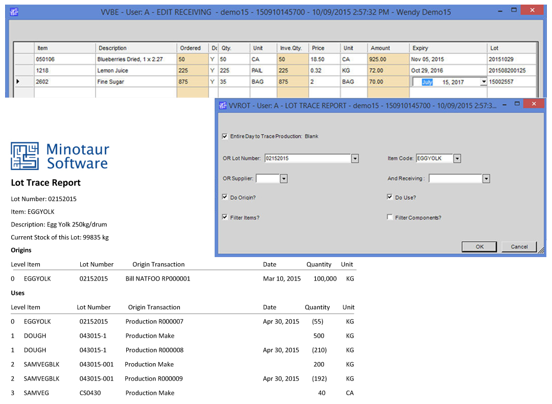 minotaur lot tracking controls