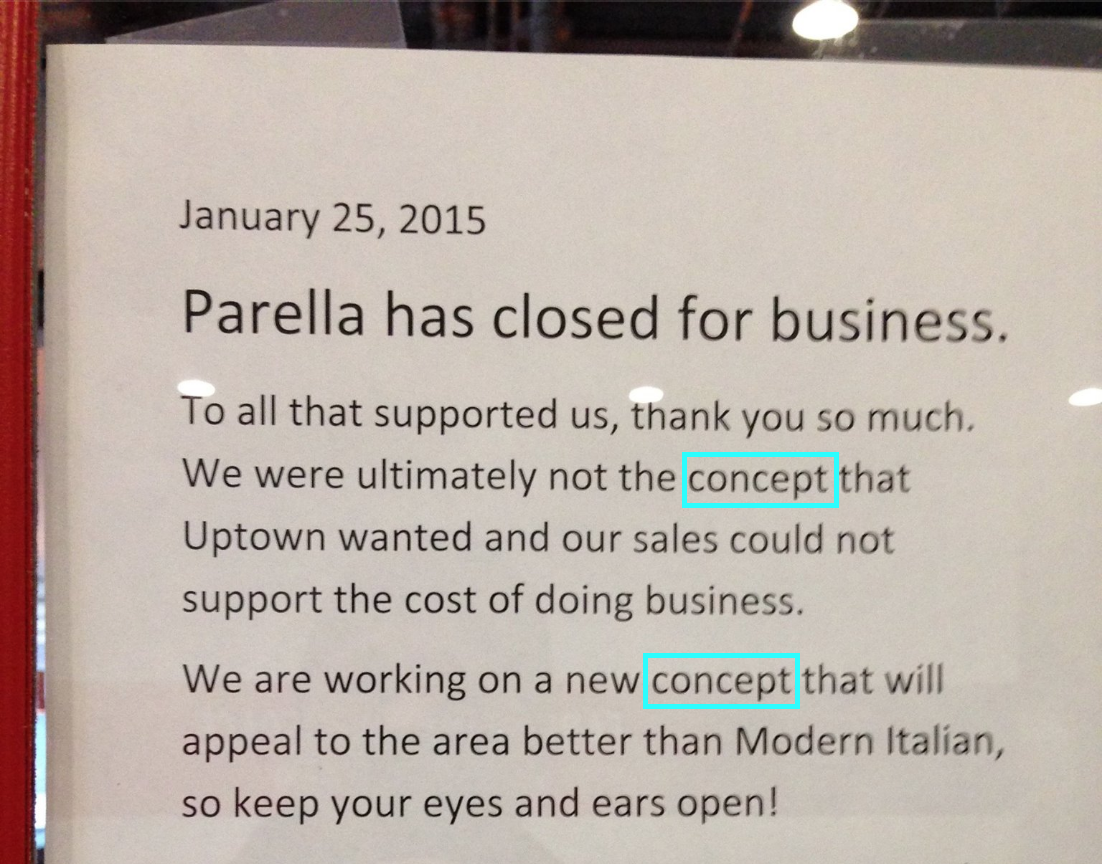 A note posted on a failed restaurant alluding to various reasons why restaurants fail