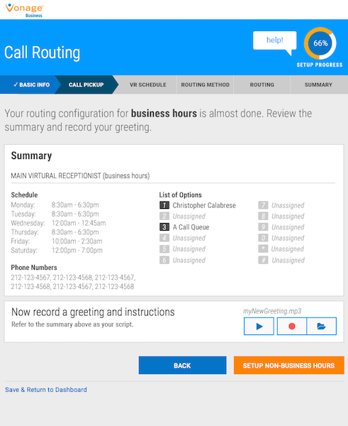 vonage business schedule routing
