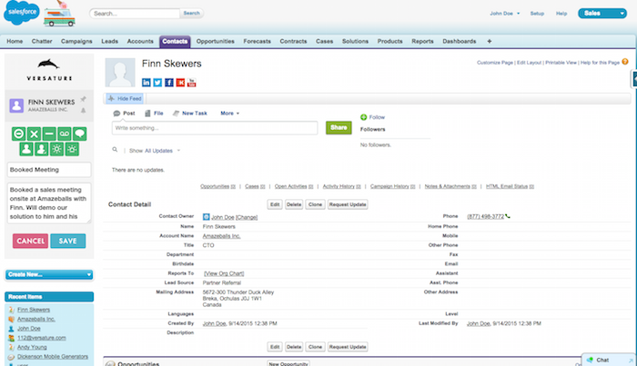 salesforce versature integration